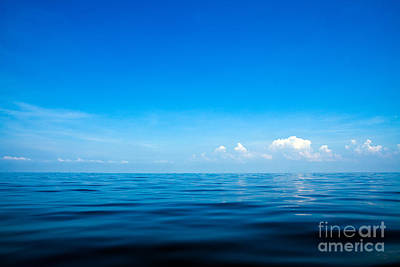 Beautiful Seascape With Blue Sea, Blue Sky And Cloud Background Poster by Caio Caldas