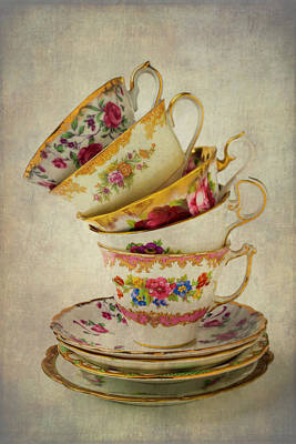 Beautiful Tea Cups Poster by Garry Gay