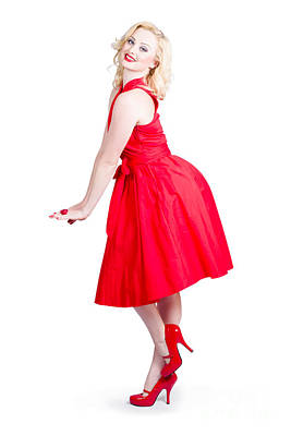 Beautiful Woman Model In Red Dress And High Heels Poster by Jorgo Photography - Wall Art Gallery