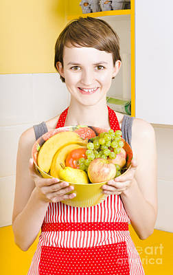 Beautiful Woman With Smile And Fresh Fruit Bowl Poster by Jorgo Photography - Wall Art Gallery
