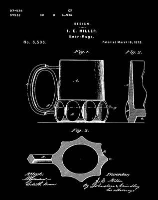 Beer Mug 1873 In Black Poster by Bill Cannon