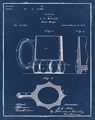 Beer Mug 1873 In Blue  Poster by Bill Cannon