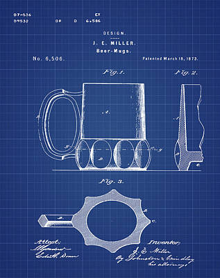 Beer Mug 1873 In Blue Print Poster by Bill Cannon