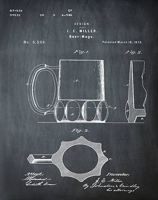 Beer Mug 1873 In Chalk Poster by Bill Cannon