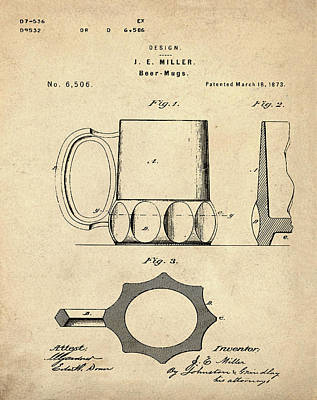 Beer Mug 1873 In Sepia Poster by Bill Cannon