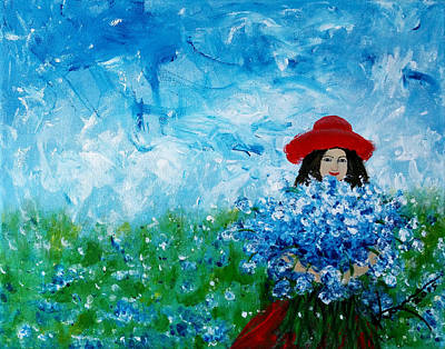 Being A Woman - #3 In A Field Of Bluebonnets Poster by Kume Bryant