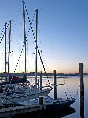 Belle Haven Marina In Alexandria Virginia At Sunrise Poster by Brendan Reals