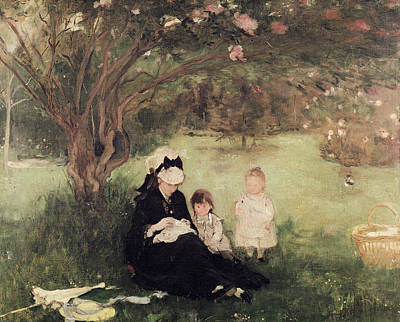 Beneath The Lilac At Maurecourt Poster by Berthe Morisot