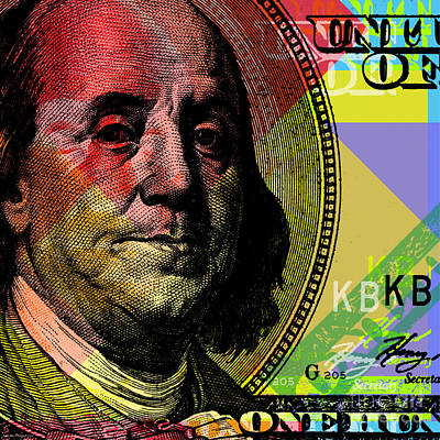 Benjamin Franklin - $100 Bill Poster by Jean luc Comperat
