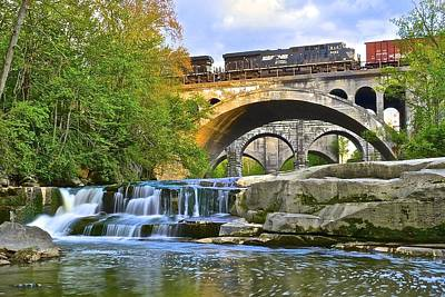 Berea Falls And Train Poster by Frozen in Time Fine Art Photography
