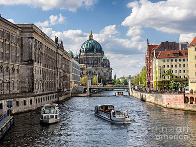 Berlin Cathedral Dom At River Spree From Nikolai Viertel Poster by Frank Bach