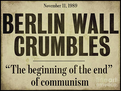 Berlin Wall Newspaper Headline Poster by Mindy Sommers