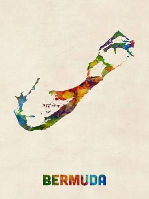 Bermuda Watercolor Map Poster by Michael Tompsett