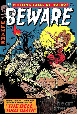 Beware 1950s Horror Comic Book Cover  Poster by Halloween Dreams