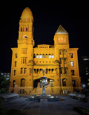 Bexar County Courthouse Illumination Poster by Stephen Stookey