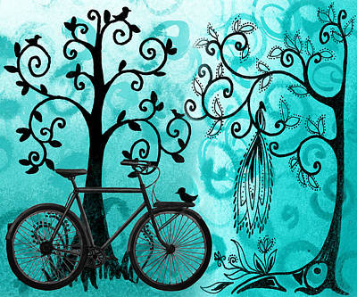 Bicycle In Whimsical Forest Poster by Irina Sztukowski