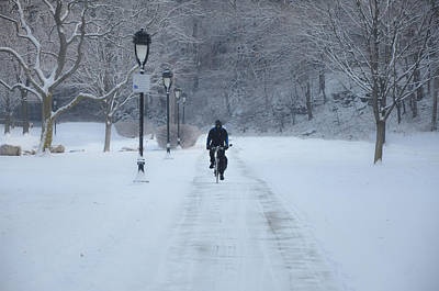 Bicycling In The Snow - Fairmount Park Poster by Bill Cannon