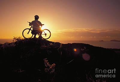 Biker At Sunrise Poster by Dana Edmunds - Printscapes