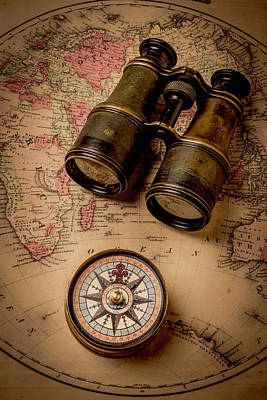 Binoculars And Compass On Map Poster by Garry Gay