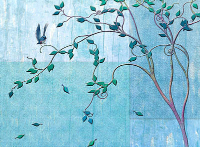 Bird In A Tree-2 Poster by Nina Bradica