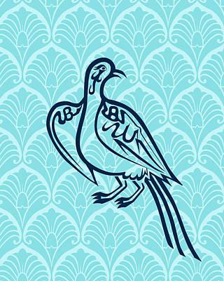 Bird Of Glory--blue Mod Poster by Misha Maynerick