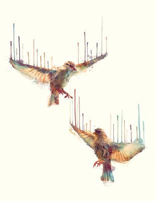 Birds // Awake Poster by Amy Hamilton