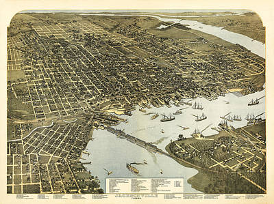 Birds Eye View Of Jacksonville Florida 1893 Poster by Digital Reproductions