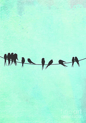 Birds On A Wire Silhouette Happy Birdies Poster by Tina Lavoie