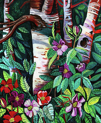 Birtch Trees And  Flowers Poster by Bob Crawford