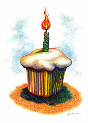 Birthday Cupcake Song Poster by Cheryl Emerson Adams