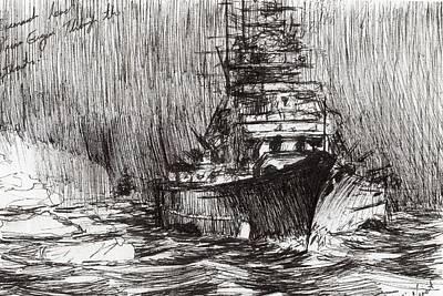 Bismarck Off Greenland Poster by Vincent Alexander Booth