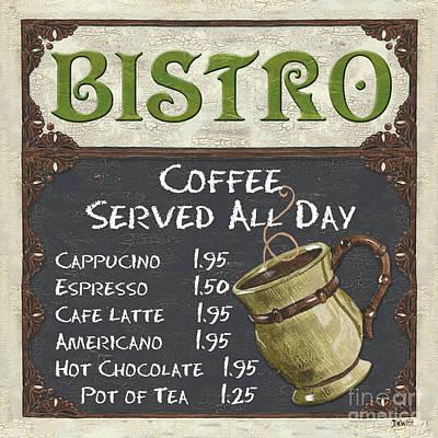 Bistro Chalkboard  Poster by Debbie DeWitt