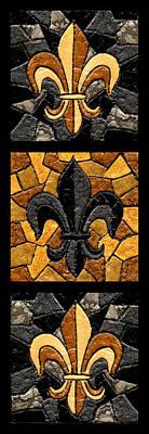 Black And Gold Triple Fleur De Lis Poster by Elaine Hodges