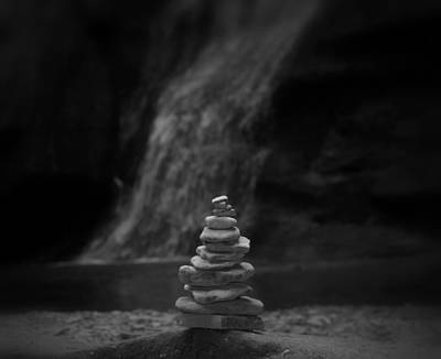 Black And White Balanced Stones Poster by Dan Sproul
