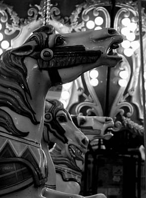 Black And White Carousel Poster by Dana  Oliver
