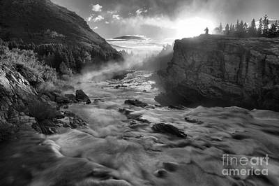 Black And White Fire Over Swiftcurrent Poster by Adam Jewell