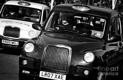 Black And White London Taxi Cabs Poster by Andy Smy