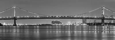 Black And White Philadelphia Panorama - Benjamin Franklin Bridge Poster by Bill Cannon