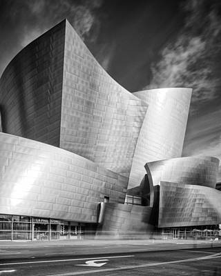 Black And White Rendition Of The Walt Disney Concert Hall - Downtown Los Angeles California Poster by Silvio Ligutti