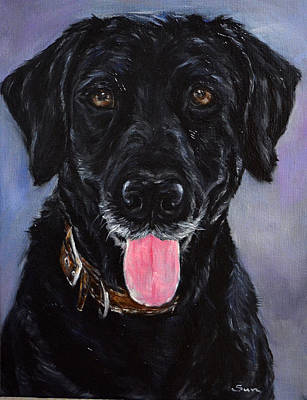 Black Lab Painting Poster by Sun Sohovich