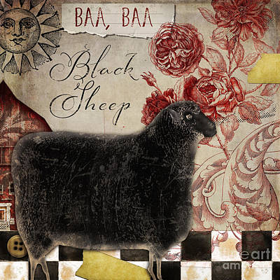 Black Sheep Nursery Rhyme Mother Goose Poster by Mindy Sommers