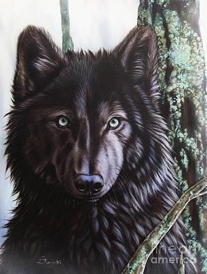 Black Wolf Poster by Sandi Baker