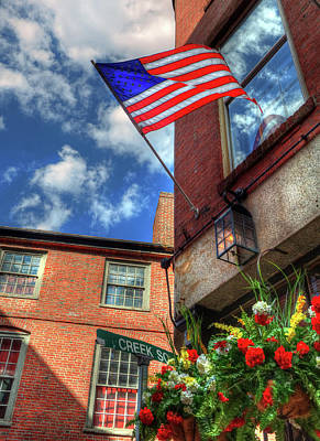 Blackstone Block - Patriotic Boston Scene With Us Flag Poster by Joann Vitali