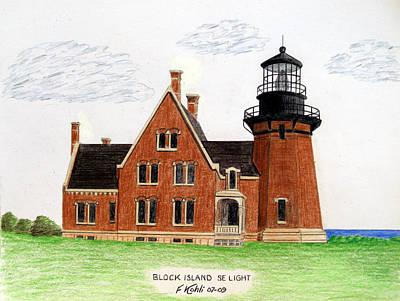 Block Island Se Lighthouse Poster by Frederic Kohli