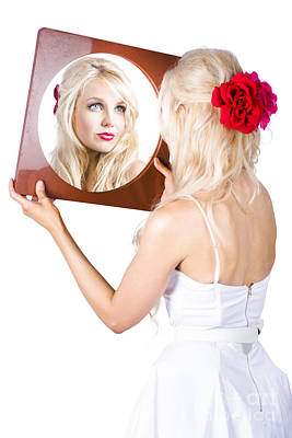 Blond Woman Looking In Mirror Poster by Jorgo Photography - Wall Art Gallery