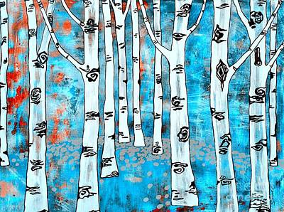 Blue Aspen Tree Poster by Amy Sorrell