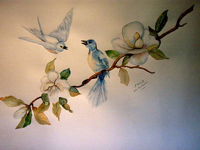 Blue Birds Poster by Bobbie Roberts