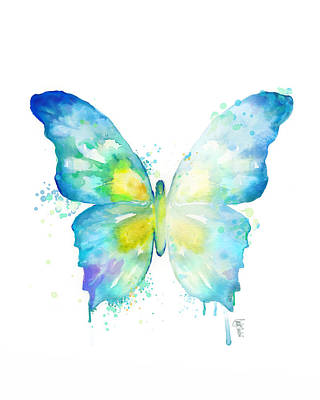 Blue Butterfly Poster by Cindy Elsharouni