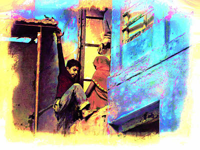 Blue City House Difficult Doorway India Rajasthan Poster by Sue Jacobi