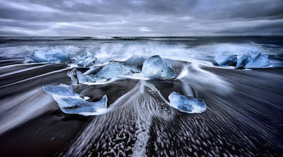 Blue Diamonds Poster by Jes?s M. Garc?a